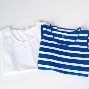 NWT 2 Small Tank Tops White Blue Stripe Kim Rogers